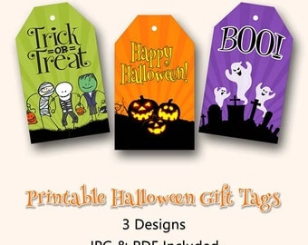 Halloween Gift Tags, Halloween, Ghosts, Pumpkins, Trick or Treat, Boo, Gift Tags, Treat Bag Topper, Party Favor, Instant Download, Printable