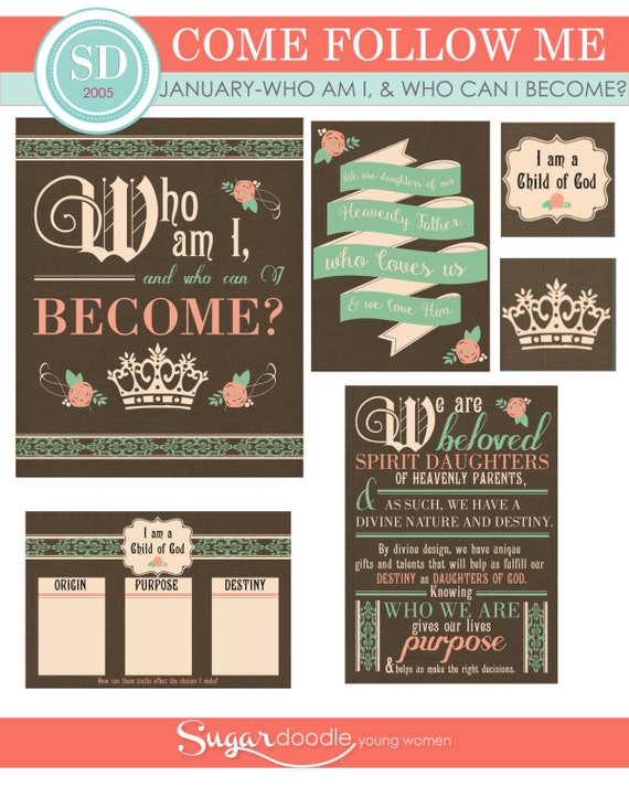 """LDS YW Come Follow Me - January - """"Who am I, and who can I become?"""" - Printable Lesson Helps - MB"""