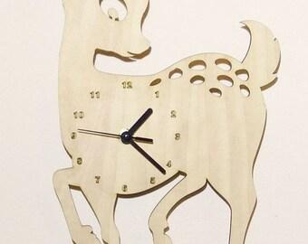 """Wooden wall clock - """"Baby Deer"""""""