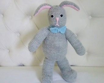 Hand Knitted Rabbit - Hand Knit Bunny -  Easter Bunny - Knit Nursery Decor - 16 Inches (MADE TO ORDER)