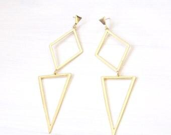 Long Geo Earrings, Geo Earrings, Geo Dangle Earrings, Geometric Earrings, Statement Geo Earrings, Simplistic Earrings, Triangle Earrings