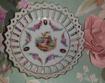 Vintage German Porcelain Open Work Dish,  Bread & Butter Plate,  Lace Edge Dish,  Victorian, Courting Couple, Shabby Chic