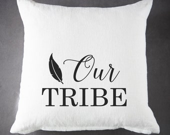 Our Tribe - 20 x 20 - 100 % Ramie - Throw Pillow - Accent Pillow - Cushion Cover - Pillow Cover