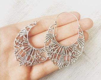 Alhambra Silver Earring Boho Earrings, Tribal Earrings, Hoop Earrings, Gold Earrings, Gipsy Earrings, Tribal Belly Dance Jewellery, lalaboho