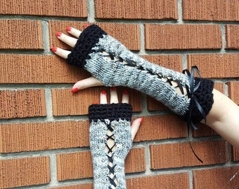 Long fingerless corset gloves, wrist warmer, arm warmer