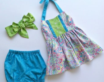 Toddler Outfit, Girls Boutique Clothing, Halter Top and Bloomers Set- Pink Paisley