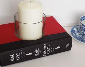 Candle Holder, Jane Eyre Candle Holder, Wuthering Heights Candle Holder, Pillar Candle Holder, Red Candle Holder, Bronte, Red and Black