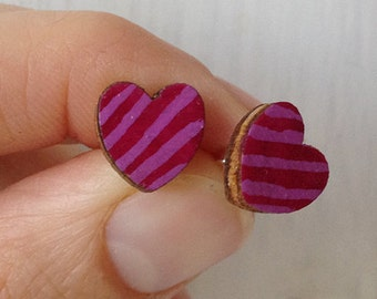 Valentine's Day heart shaped wooden earrings and painted by hand