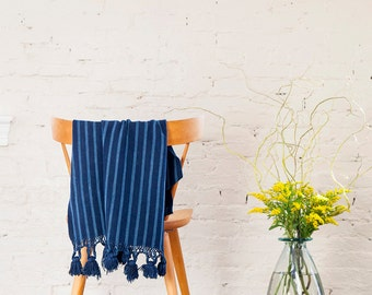 San Andres Throw. Handwoven Tasseled Indigo Throw / Wrap from Guatemala.