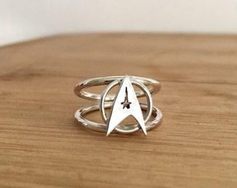 Star Trek Silver Ring. Sterling Silver Star Trek Ring. Geek Ring. Star Trek Jewelry. Geek Jewelry. Sci Fi RIng. Fandom Jewelry.