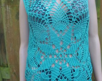turquoise crochet top