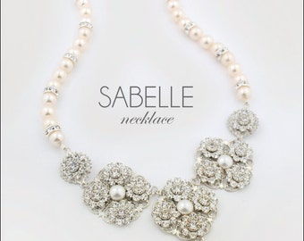Crystal pearl wedding necklace - statement bridal necklace - Swarovski crystal wedding necklace - vintage bride - Sabelle necklace