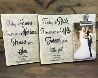 Today a Bride & Today a Groom Wedding Frame Gift Set, Wedding Parents Gifts, Wedding Thank You Gifts, Gift For Parents