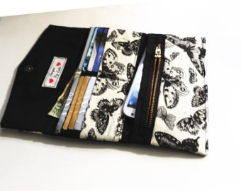 Women's Butterfly Black and Off White Tri Fold Wallet