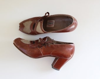 1930s Shoes / Afternoon Stroll Heels / Vintage 30s Leather Mesh Shoes / 6 6.5
