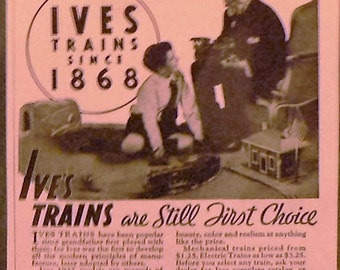 1932 Ives Model Train Toy Ad Matted Vintage Print