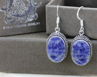 Sodalite Vintage Filigree Setting 925 SOLID (Nickel Free) Sterling Silver Dangle Earrings e546
