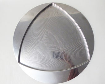Vintage 1972 Alessi Trifolio tray, signed/stamped Franco Grignani. Inox 18/10 stainless steel, Made in Italy. Retro round/triangular drinks