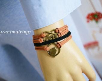 Bird Bracelet, Love Bracelet, Infinity Bracelet, Charm bracelet, Leather Bracelet, Friendship Bracelet