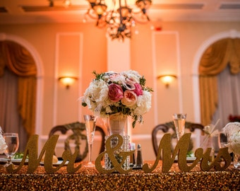 """MR & MRS Gold Glitter wedding sweetheart table letters - 6"""" Gold Paint or Glitter or Diy Wedding, reception decor"""