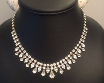Vintage 1940's Weiss Rhinestone Bib Necklace - Signed Weiss / Clear Rhinestone Statement Necklace / Wedding Necklace