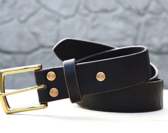 "Black Horween Chromexcel leather belt, 1.5"" width"