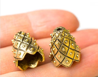 Maharaja Large Bead Caps, Antique Gold, 14mm x 17mm, 2 Pc, Made in the USA, AB9