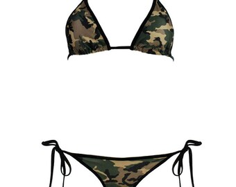 SALE - Call of Duty Set - Camouflage Bikini with Black Trim - Adjustable Side Ties - Skimpy Camo Scrunch Bottom - Sexy Black Camouflage