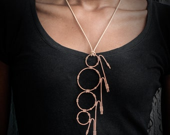 SALE - Bohemian, Handmade Wire Wrapped Copper Necklace, Geometric Jewelry, Vintage Inspired Statement Necklace