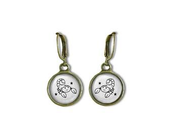 Zodiac Scorpio  Earrings, Scorpio Dangle Earrings, Zodiac Earrings, Astrology Earrings