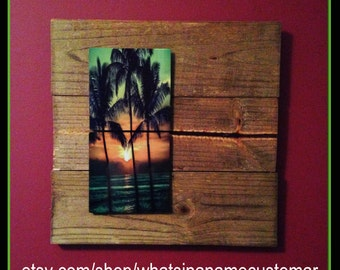 17x17 Wood and Metal wall art.  Sunset through Palm Trees
