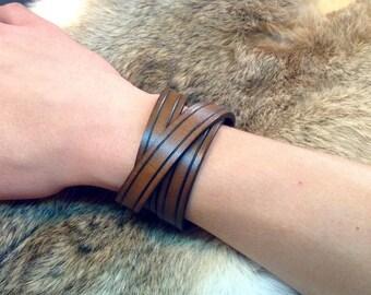 Leather wrap Bracelet (Choice of color) - Boho bracelet - triple wrap - 100% leather - handcrafted by A9 Design