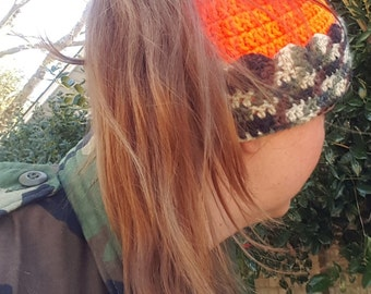 Orange Camo Hunting Hat, Crochet Ponytail Beanie, Pony Tail Messy Bun Toboggan, Safety Orange Handmade Ear Warmer, Hunting Gifts for Her