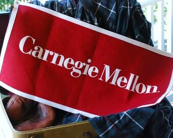 FREE SHIPPING!! - Vintage Carnegie Mellon University Felt Banner - Classic Collegiate CMU Tartans Dorm Banner - Red and White College Decor
