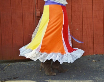 Rainbow Boho Skirt, Hippie Skirt, Gypsy Skirt, Shabby Chic, Festival Skirt, Upcycled Skirt, Ready to Ship