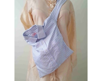 Recycled Shirt Shoulder Tote Bag - Blue