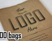 100 Custom printed bags - Grayscale, Kraft bag.