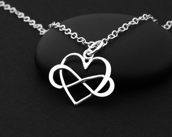 Infinity Heart Necklace, Sterling Silver Heart Necklace, Sterling Silver Infinity Necklace, Love Necklace, Infinite Love, Infinity Jewelry