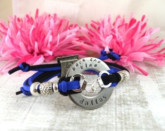 Personalized Back The Blue Washer Bracelet Hand Stamped Stainless Steel Adjustable Cord Bracelet Handcuffs Thin Blue Line Police Jewelry