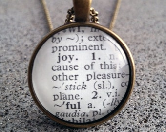 Word Art Dictionary Joy Pendant and Necklace