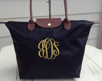Monogram Tote Bag - Longchamp Inspired tote - Medium Size -Personalized tote bag - Bridesmaid - Graduation - Teacher- ALL AROUND FAVORITE