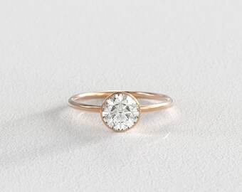 6.5mm Moissanite Engagement Ring | Bezel Setting | Minimalist Modern Band | Recycled Yellow Gold, Rose Gold, or White Gold