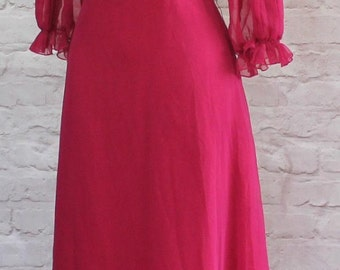 Vintage 80s Retro Victorian Dress Evening Gown Long Maxi Elegant Classy UK 16...US 12