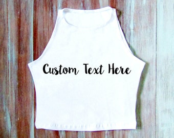 Customized Embroidered Crop Top-Personalized Top- American Apparel Crop Top