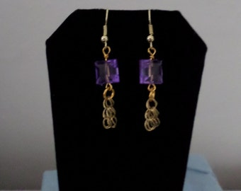 Purple Earrings with Chain Dangle