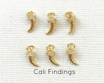18K Gold Plated Tiny Horn, Cubic Zirconia Micro Pave Horn Pendant, Pave Horn, Horn Charm, Gold Horn, Mini Horn, Crystal Gold Horn [1436]