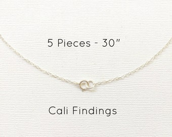 "5pc- 30"" Sterling Silver Chain Finished, Finished Necklace, Flat Cable Chain, 1.3mm, 5 Pieces, Silver Chain, Bulk Chain, 30 inch"