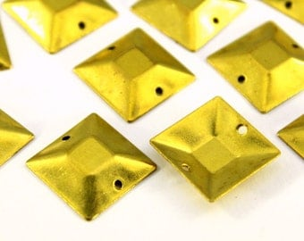 20 pcs 16x16 mm Raw Brass Curved Square