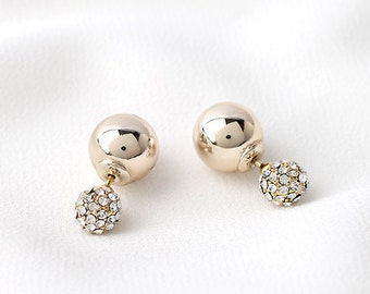 classy double ball earrings, metallic and cz ball, newest trend, ball earrings, bridal gift, wedding jewelry, anniversary gift