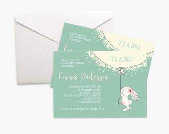 Printable Baby Shower Invitation - Bunny, It's A Girl Shower Invitation, Pink and Mint Baby Shower Invites, 5x7, Digital Download